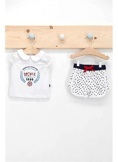 U.S. Polo Assn. Lisanslı Mottled Beyaz Kız Bebek 2'Likısa Kol Şort Takım Beyaz